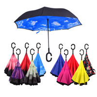 Wholesale Inverted Umbrella Creative Double Layer Reverse Rainy Sunny Umbrellas Self Stand Inside Out Rain Protection C Hook Hands various colors DHL