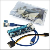 extensor pci 1x 16x al por mayor-PCI-E Express Extender Riser Card Adapter 1X a 16X w / 6 Pin USB 3.0 Puertos Cables para Bitcoin Litecoin Miner 60cm