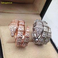 zirconia silberner schlangenring großhandel-Europäische Schlange Ring Herz Luxus Designer Mode 925 Sterling Silber Schmuck Platin beschichtet Zirkonia Party