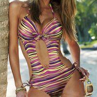 swimsuit listrado venda por atacado-Mulheres Sexy Listrado Halter Brasileira Push Up Swimwear Senhoras Beachwear Monokini Trikini One Piece Swimsuit