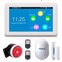 Wholesale Security Products Alarm - Wholesale- KERUI New Product High-end 7 Inch Color Display Touch Screen WiFi GPRS GSM Multiple Pattern Burglar Home Security Alarm System