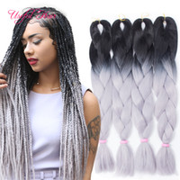 Wholesale wholesale ombre braiding hair - Ombre grey jumbo braiding hair synthetic two tone hair color black brown JUMBO BRAIDS bulks extension cheveux inch ombre box braids hair