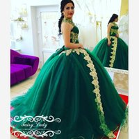 Wholesale Applique Evening Gowns - 2017 Luxury Green Pageant Dresses Prom 3D-Floral Appliques Major Beading Long High Neck Lace Up Long Red Carpet Evening Dress Formal Gowns