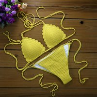Wholesale White Knit Bikini - Handmade Crochet Beach Holiday Pool Hot Spring Sexy Bikini Set Swimwear Knitting Beachwear Women Triangle Crochet Sexy Swimsuit