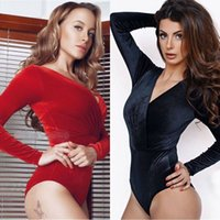 Wholesale Cheap Jumpsuits Free Shipping - Newest Women Fashion Deep V-Neck Pleuche Cheap Jumpsuits 4 Size 2 Color Slim Casual Sexy Jumpsuits High Quality Free Shipping