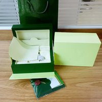 Wholesale Paper Bag Tags - Free Shipping New Style Brand Green Watch Original Box Papers Gift Watches Boxes Leather bag Card 185mm*140mm*85mm 0.8KG For Rolex Watch Box