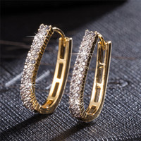 Wholesale Stud Hoop - Party Imitated Full Crystal CZ 18K Yellow Gold Plated Luxury Hoops Earrings for Women Wedding Bridal Holiday Fashion Earring Accessories