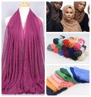 Wholesale Muslim Scarf Head Wraps - 41 Colors 180*95cm Women Cotton Linen Plain Wrinkle Hijab Scarf Muslim Muffler Fashion Long Shawls Head Wraps Pashmina CCA7066 300pcs