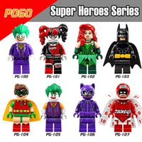 block people - Super Heroes Minifig Bat Figures Bat Robin Catwoman Canlendar People Clown Poison Ivy Harley Quinn PG8032 Mini Building Block Figures