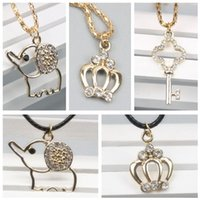 Wholesale Crown Pendant Necklace Wholesale - 2017 New Fashion Cute Key Elephant Crown Necklaces & Pendants Leather Chain Alloy Chian Necklace Jewelry For Women Short Necklace Gift