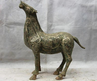 Wholesale Chinese Horse Bronzes - Chinese Zodiac Animal Royal Fengshui Copper Bronze Silver Horse Figurine Statue