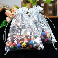 Wholesale organza bag rose - Wholesale-100pcs 13x18cm Rose Flower Organza gift bags White Color Drawable Organza Bags Wedding Christmas Gift Bags free shipping
