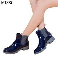 Wholesale Rubber Water Boots For Women - Wholesale- 2016 Rain Boots Water Rubber Shoes For Women Fashion Elastic Band Slip On Martin Ankle Boots 35-41 Black Red Blue WBS193