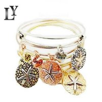 Wholesale Sea Stars Wholesale - Hot Sell Bangles Fashion Charms Starfish Sea Star Love Alloy Pendant Bracelets Vintage Expandable Wire Cuff Girls Bracelet