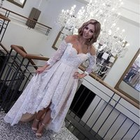 Wholesale Hi Lo Plus Size - Full Lace Wedding Dress Plus Size Off The Shoulder Bridal Gowns Sheer Hi Lo Wedding Dresses With Sleeves