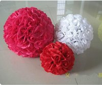 Wholesale Yellow Rose Flower Balls - 15cm to 30cm Elegant Yellow Artificial Silk Rose Flower Balls Hanging Kissing Ball For Wedding Xmas Decorations