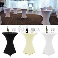 Wholesale 1Piece cm White Black Ivory Cocktail Table Cover Lycra Spandex Stretch Tablecloth For Bar Bistro Wedding Party Event Decor