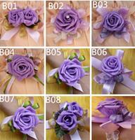 corsages poignets violets achat en gros de-Purple PE Forme Corsage De Mariage Demoiselle D'honneur Fleurs Au Poil De Mariée Fleurs De Mariage Corsage Corsages Pour Partie Supllies Rouge 10pcs / lot