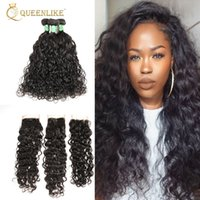 Unprocessed Raw Temple Индийская Virgin Human 4x4 Hair Clousre With 3 Bundles Water Wave 1B Color Wedding Supplier Queenlike 7A Silver Grade
