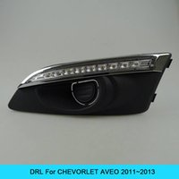 Wholesale Aveo Fog - Car DRL Kit for CHEVORLET AVEO 2011 2012 2013 LED daytime running light bar daylight fog lamps bulbs for car led drl light