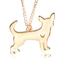 Wholesale Puppy Chihuahua - 2017 New Fashion Cute Little Puppy Dog chihuahua Pendant Necklace Silver&Golden Plated Necklace women jewelry Chrismas Present 6