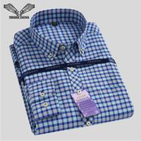 ingrosso grandi camicie collared-Wholesale- Camicia a quadri classica da uomo 2017 primavera nuovo marchio colletto rovesciato Slim Fit uomini d'affari camice di grandi dimensioni S-4XL N544