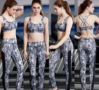 Wholesale Stretch Spandex Pants Wholesale - Women Quick Dry Stretch Yoga Gym Jogging Vest Bra+ Legging Pants Clothing Sets Girl Outdoor Sports Exercise Fitness Wear Tank Tops Trousers
