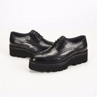 mens oxford casual chaussures noir achat en gros de-Oxfords noir formelle plate-forme chaussures hommes robe chaussures en cuir véritable mariage époux chaussures en plein air mens occasionnel