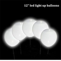 Wholesale Wedding Decoration Ballons - 12 inch magic led wedding ballons decorations glow in dark flashing light up balloon white latex balloons wholesale drop shipping
