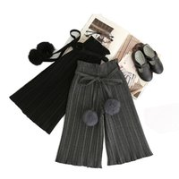 Wholesale woolen ball - Girls Wide Leg Pants Woolen Harem Ruffled Trousers Fall Spring Pleated Fur Balls Pants Cute Gray and Black Sweater Pants
