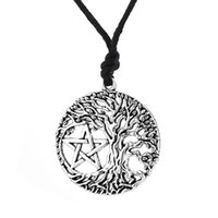 Wholesale Wicca Pentacle - comejewelry Tree of Life Yggdrasil Portugal Men Pendant Pentacle Pentagram Wicca Pagan Vintage Accessories Male Necklace Women Collar