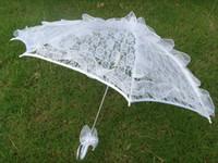 Wholesale Cheap Plastic Umbrellas - New Design Lace Parasols White RED Handmade Bridal Lace Umbrella Plastic Handle Bridal Accessories 2016 Cheap Free Shipping