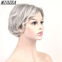 Wholesale Silver Curly Wig - Hair Synthetic Short Curly Hair Puffy Natural Silver Grey Wigs With Bangs For Women 20cm
