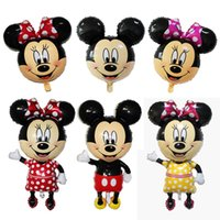 Wholesale Inflatable Baby Shower Decorations - Foil Balloon Mickey Mouse Minnie Head For Kids Birthday Party Decoration Baby Shower Supplies Inflatable Mitch Nemini Ballon