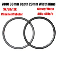 Best Sell Carbon Road Bike Rims 700C 38mm Profundidade 23mm Largura 3K UD Matte Glossy Clincher Tubular Bicycle Rim 415g-445g 16-32 Buracos