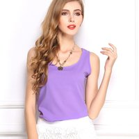 Wholesale Purple Blouses For Women - Summer women's tank loose crop top plus size clothing tank tops for women candy colors chiffon clothes blouses sleeveless t shirt crop top
