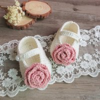 Wholesale Handmade Wool Shoes - Baby Princess Shoes Autumn Flower wool Knitting stereo flower Girls First Shoes Crochet handmade shoe Infant Walking Shoes C1832