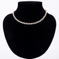 satılık elmas takı takı toptan satış-Sıcak Satış Yeni Kadın Kristal Rhinestone Yaka Kolye Kolye kız Düğün Doğum Günü Takı için ücretsiz kargo # N062