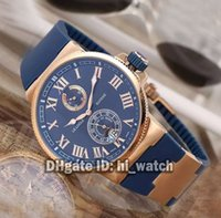 Wholesale Manufacturing Auto - Super Clone Brand Luxury Ulysse New Marine Chronometer Manufacture Blue Dial 266-67-3 43 Rose Gold Mens Watch Automatic Cheap Watches Rubber