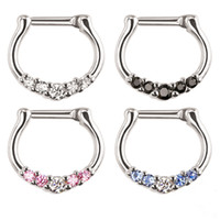 Wholesale Gem Nose Hoop - Fashion hot Five Gems Surgical Steel Septum Clicker Nose Ring Punk Women Men Zircon Nose Hoop Body Piercing Jewelry