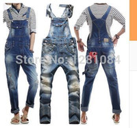 Wholesale Korean Jeans Pants For Men - Wholesale-Men's Korean style slim Jumpsuits Hole suspenders jeans for men Mens denim bib pants Blue Denim Overalls Trouser For Man