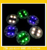 Wholesale Mat Led Lights - Super bright 3mm 4 LED Flash Light Bulb Bottle Cup Mat LED glorifier mini glow stick Club Bar Party