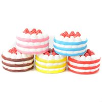 Wholesale food cells - Squishy Strawberry Cake 12cm Slow Rising Toy Relieve Stress Cake Sweet Food PU Cell Phone Strap Phone Pendant Key Chain Toy Gift