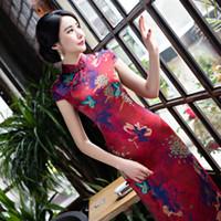 Wholesale Cheongsam Red Women - Women Vintage casual dress high-grade long cheongsam Floral print cheongsam silk qipao red dress chinese traditional dress