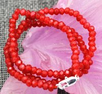 """Wholesale Ruby Faceted Necklace - New 2x4mm Faceted Red Ruby Handmade Gemstone necklace 18"""" Silver clasps AAA"""