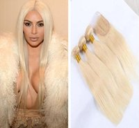 Wholesale Silky Blonde Straight Weave - Color 613 blonde brazilian Virgin silky Straight hair Human Hair bundles with top lace closure 3bundles with closure free shipping