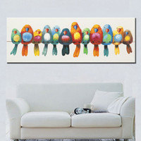 Wholesale Cute Oil Paintings - funny hand painted canvas oil painting colorful birds canvas art cute lovely bird picture abstract home decoration wall painting