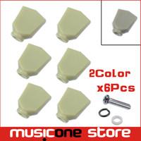botões de ajuste de peg venda por atacado-6 Pcs Jade Verde Retro Trapézio Guitarra De Plástico Sintonia Peg Tuners Cabeças Da Máquina de Substituição Do Botão botão Handle Cap Tip - 2 cores