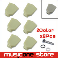 Wholesale guitar tuning buttons - 6Pcs Jade Green Retro Trapezoid Plastic Guitar Tuning Peg Tuners Machine Heads Replacement Button knob Handle Cap Tip - 2 Color