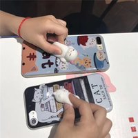 Wholesale Wholesale Sleeping Kitty - Phone Case for iPhone 6 6S 6 plus 3D Cute Soft Silicone Squishy Cat Fundas for iPhone 7 7 plus Cover Animal Sleeping Kitty Coque